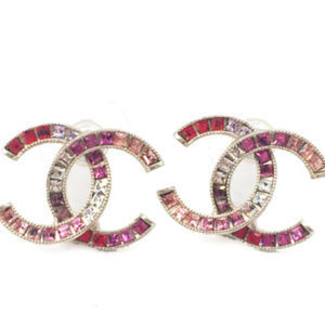 Chanel XL CC pink purple crystal earrings, gold